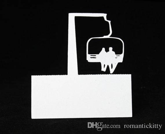 couple on chairlift place cards winter wedding bridal baby shower dinner party seating table number name tented escort card party hats party invitations