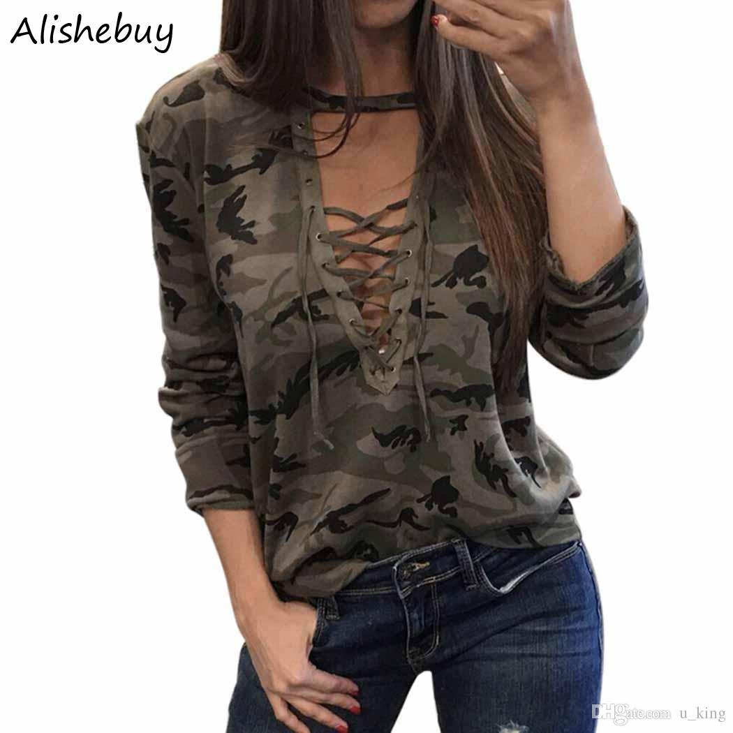 520adb7fe3b7 Hot Women Casual Deep V Neck T Shirts Cross Lace Up Sexy Tshirts Tops Long  Sleeve Casual Print Army Camouflage T Shirt Plus Size SVH033812 Random  Graphic ...