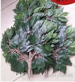 Plastik Bitki Yeşil Yapay Banyan Ficus Dalları Çim Ev Dekorasyon Mor şube Bırakır 12 adet