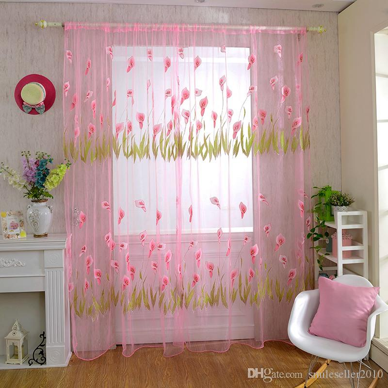 2016 New Arrival Calla Lily Pattern Tulle Curtains For Living Room ...