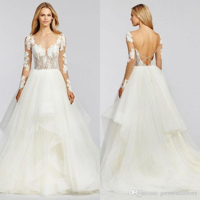 Discount Fall 2016 Hayley Paige Wedding Dress Ruffles Illusion Lace ...