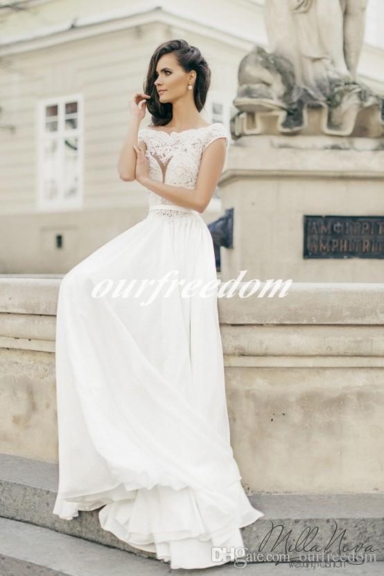 2019 Milla Nova Bohemian Branco Chiffon Vestidos De Noiva Para O Estilo grego Tripulação Pescoço Ver Embora Top Cap Manga Vestido De Noiva Casamento No Jardim Da Praia