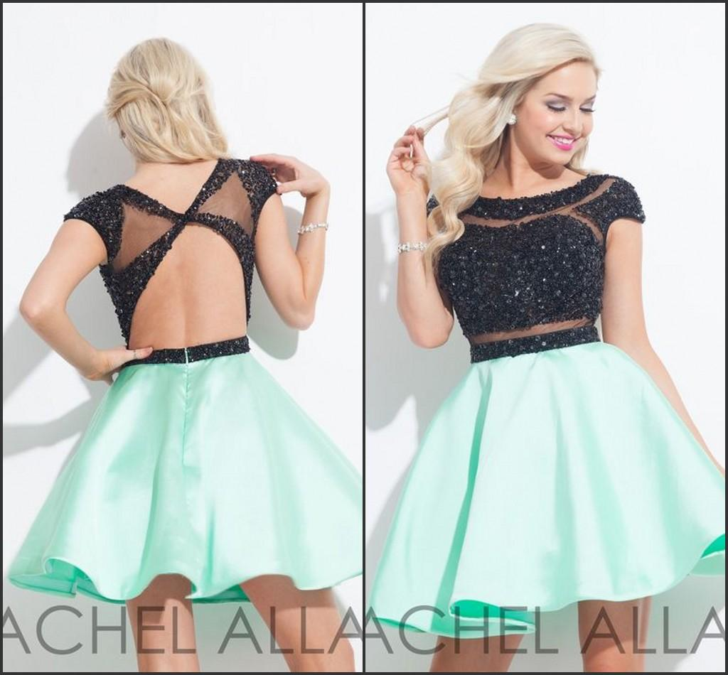 75cdc49a77cc Rachel Allan 2016 Mint And Black Homecoming Dresses Custom Make Sequins  Sheer Neck Cap Sleeve Short Party Prom Formal Dress Short White Homecoming  Dresses ...