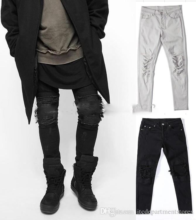 New hot fashion 30-36 hip hop kanye designer hole pants mens skinny ripped distressed black white denim biker jeans