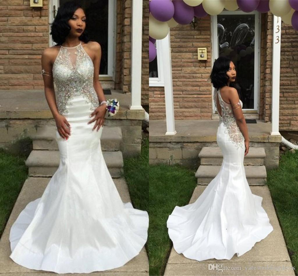 Jewel White Evening Dresses Sheer Neck With Applique Beaded Prom ...