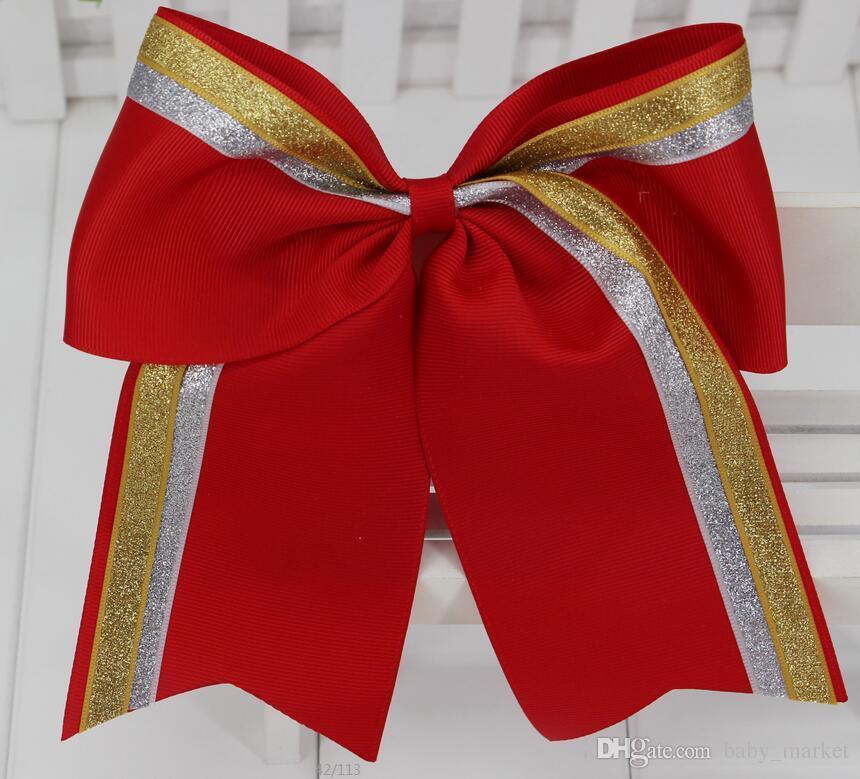 15% OFF 7.5 Inç Altın Gümüş Pullu Cheer Bow Ile Elastik Band Bling Cheerleading Saç Yay gençler Için Kız Saç Aksesuarları 10 Adet /
