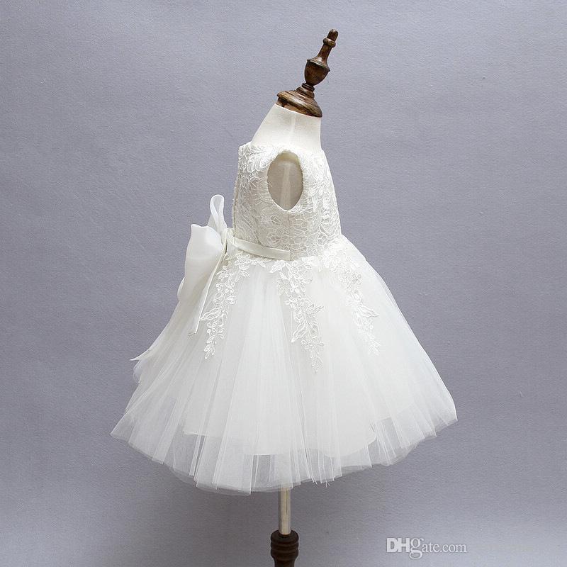 Yüksek Kalite Beyaz Büyük Yay Kızlar Için Elbiseler Tül Dantel Bebek Yürüyor Pageant Çiçek Kız Elbise Düğün ve Doğum Günü için Özel Teklif