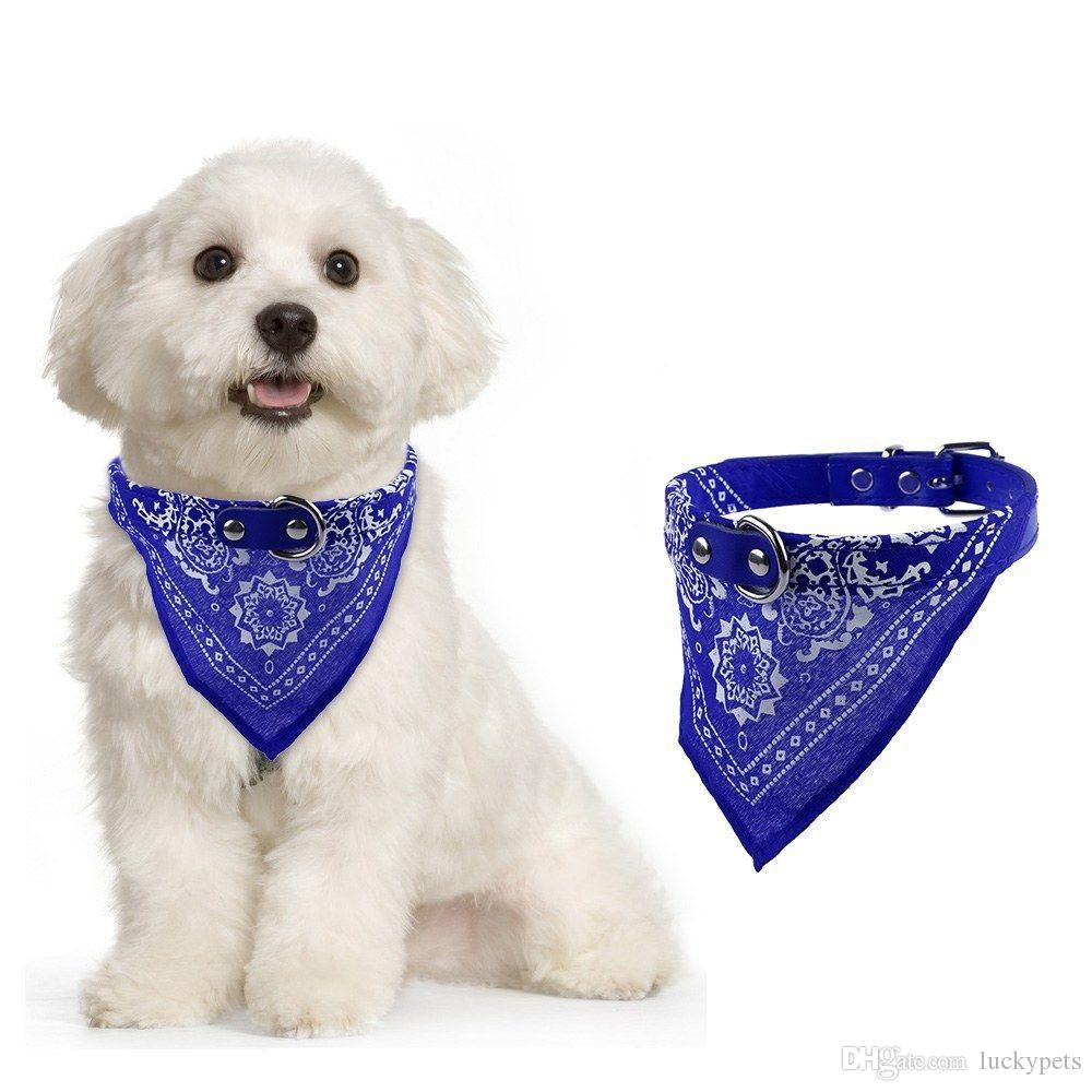 Colorful Adjustable Pet Small Dog Puppy Cat Neck Scarf Bandana with Leather Collar Neckerchief With