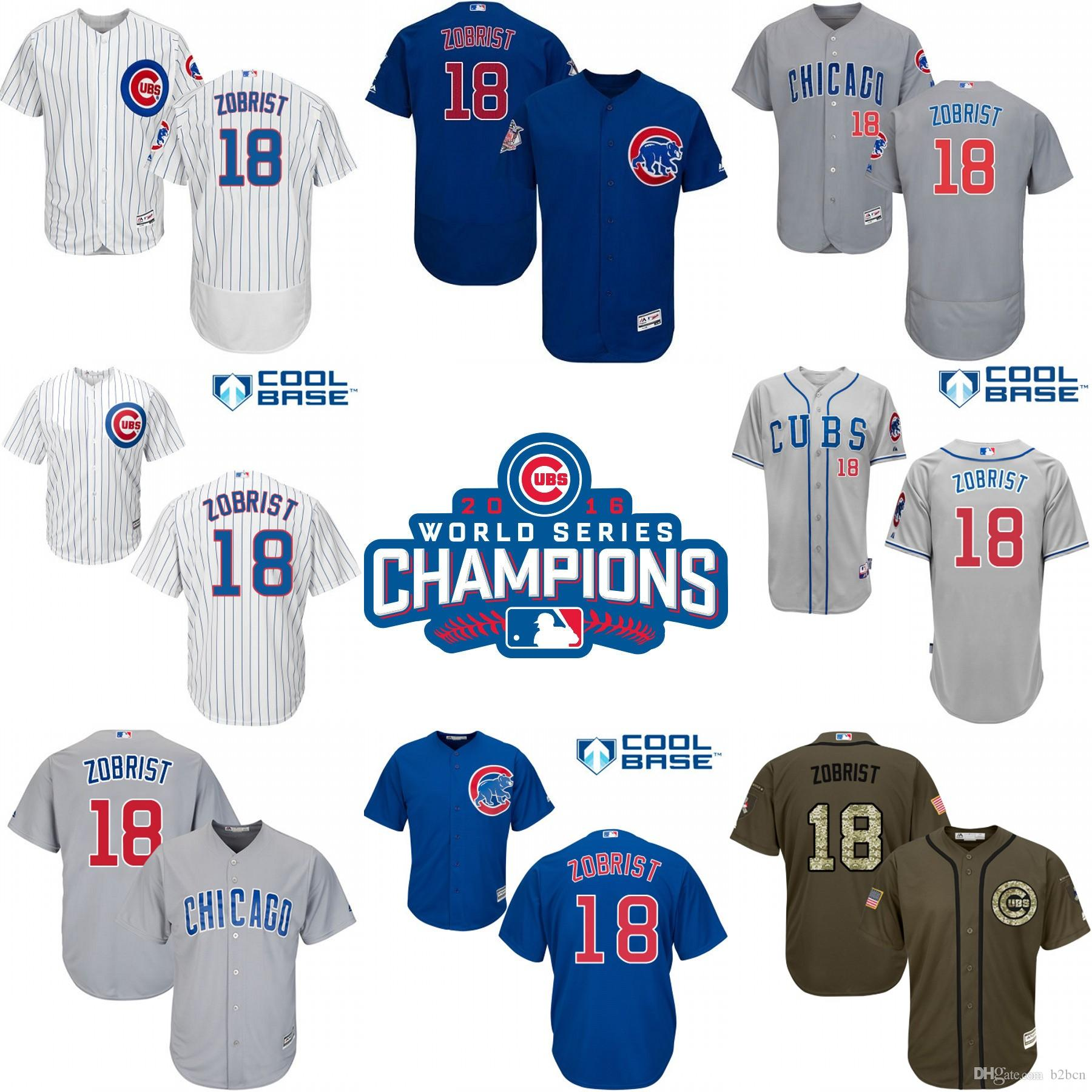 008a7bc1e0b ... 2017 2016 world series champions patch chicago cubs 18 ben zobrist  baseball jerseys authentic stitch