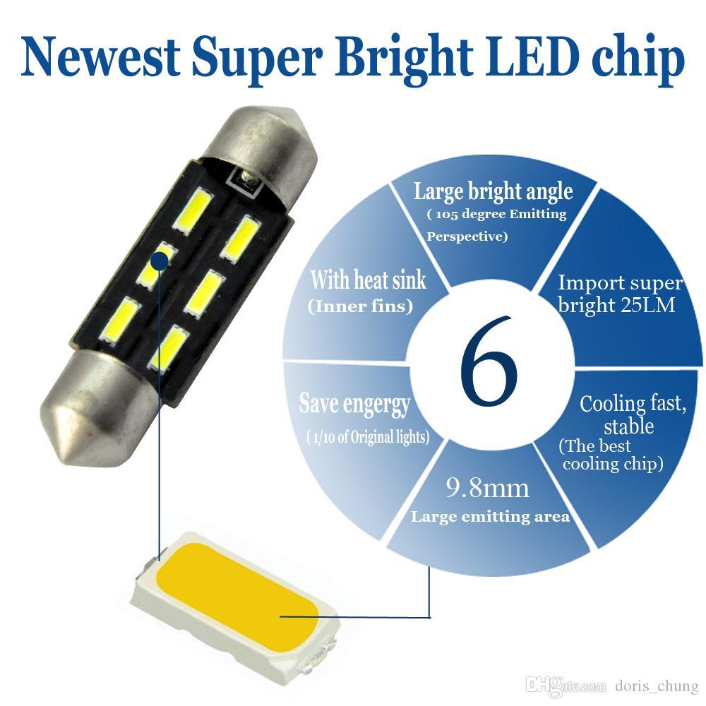 내부 전구 31mm / 36mm / 39mm / 41mm 4014 C5W 6SMD 12V LED 통로 글로브 박스 수화물 트렁크 꽃 줄기 차량 돔지도 조명 refit