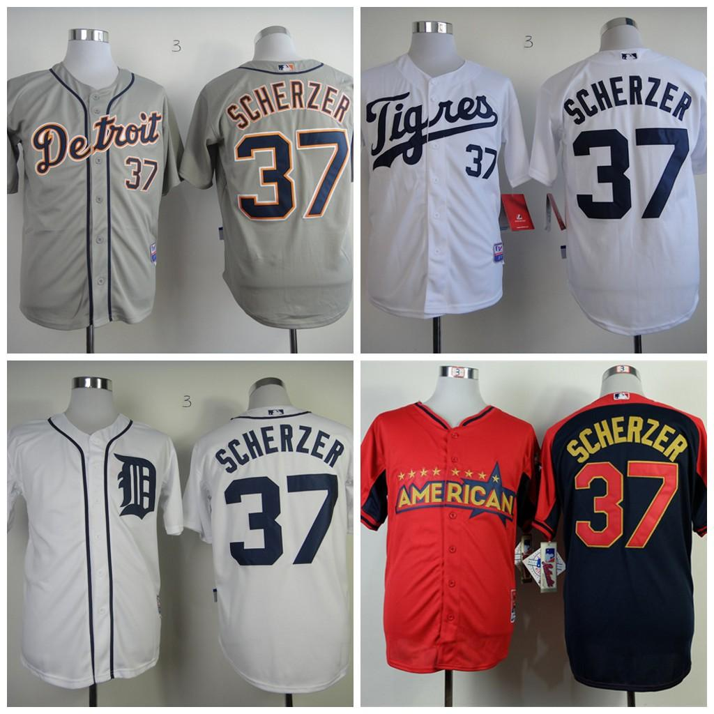 2017 2017 37 max scherzer jersey mens detroit tigers baseball jerseys vintage flexbase white grey re