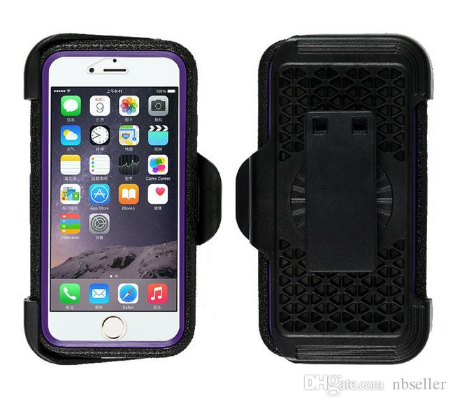 For iphone 7 7plus Hybrid Rugged Tough Armor Defender Robot 3 in 1 Case TPU PC cases PVC clear Glass back cover with Belt Clip 5s 6 6s plus
