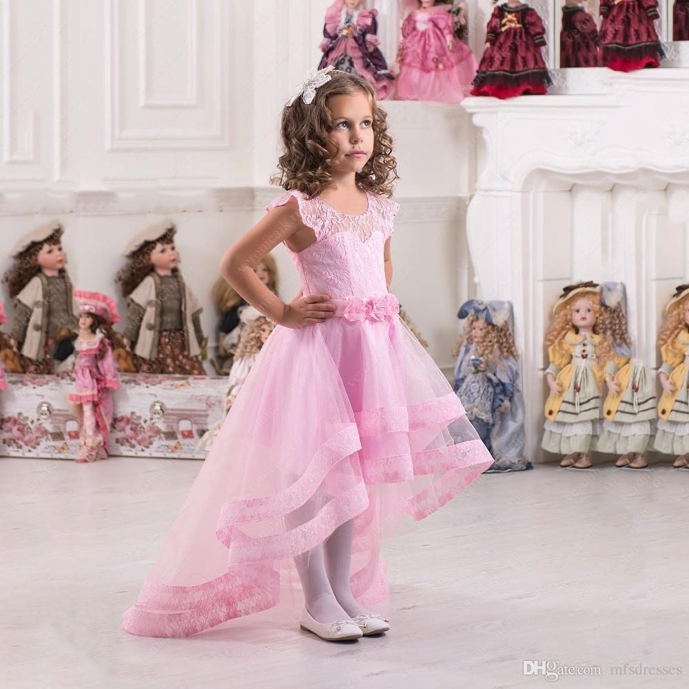 Compre 2017 Nueva Rosa Alta Baja Princesa De Encaje Caliente Vestido ...