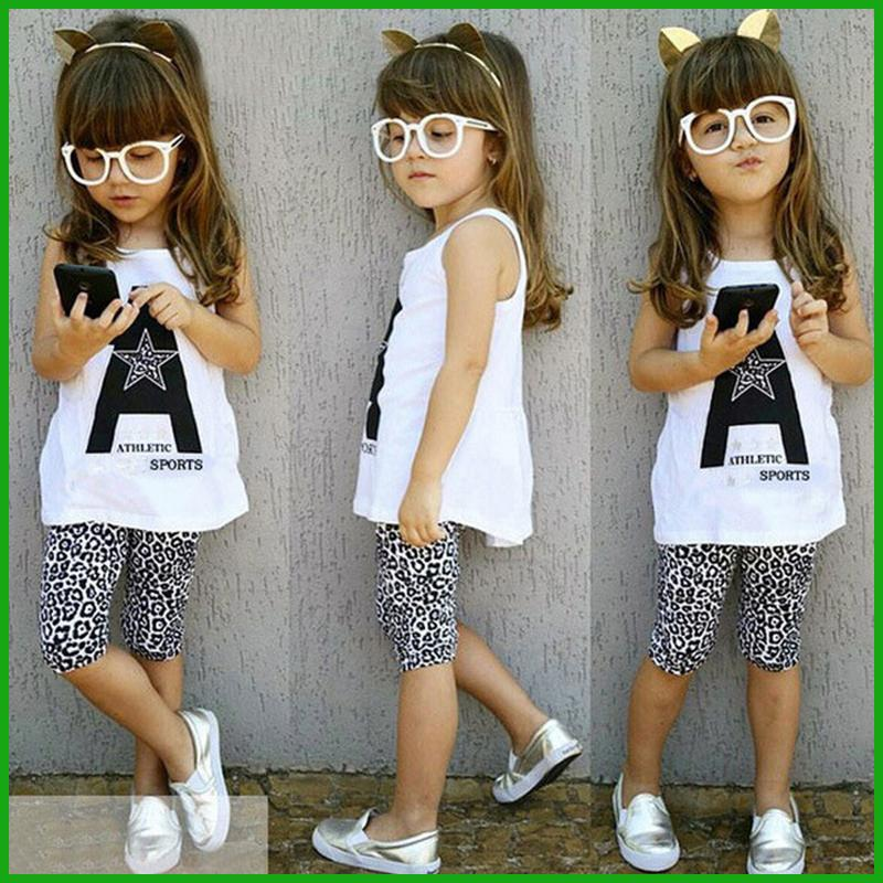 summer girls suits factory outlet one piece avaialble leopard print middle leggings white A letter america and europe style hot selling