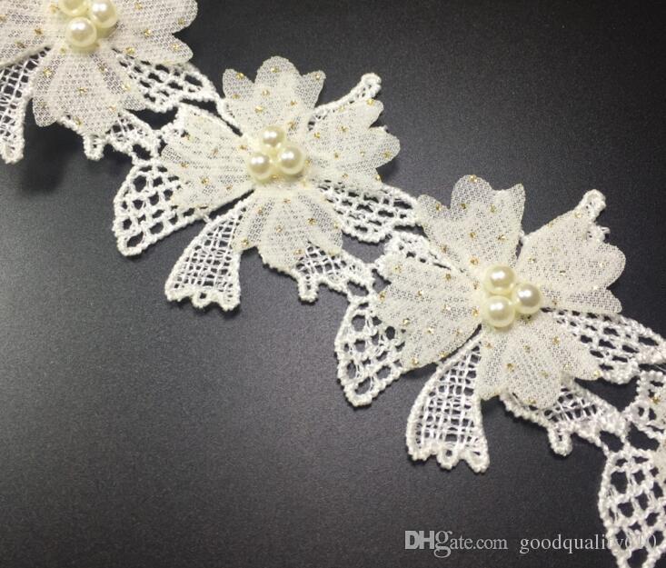 15Yard Flower Rhinestone Pearl Cotton Lace Fabric Trim Ribbon For Apparel Sewing DIY Bridal wedding Doll Cap Hair clip