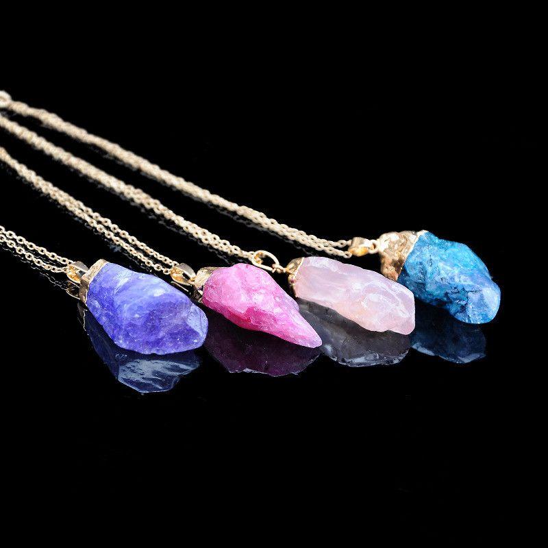 Doğal Taşlar Kolye Kolye Kadın Erkek Takı doğal taş Kuvars Kristal Kolye Kolye Zincirler womens mens Jewellry Hediye 9 renkler