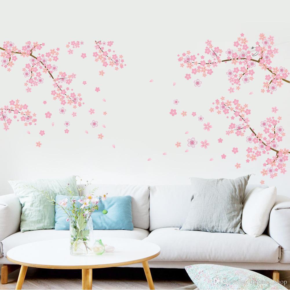 FAI DA TE Romantico Rosa Plum Flower Tree Wall Sticker Soggiorno camera da letto Adesivo TV divano sfondo Home Decor murale carta da parati
