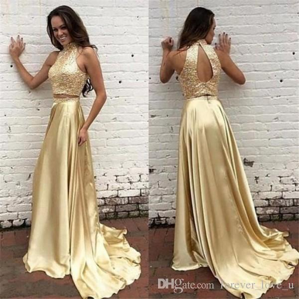 Cheap Bling Bling Gold Evening Dress Popular Two Pieces Sequined Crop Top High Neck Sleeveless Prom Party Gowns Sweep Train Custom Made