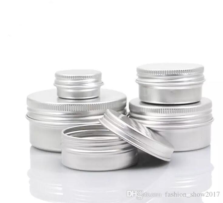 JAR de crème de crème d'aluminium vide 5 10 15 30 50 100g Cosmétique Baume à lèvres Contenants Désigranes à ongles Bouteille de pot d'artisanat