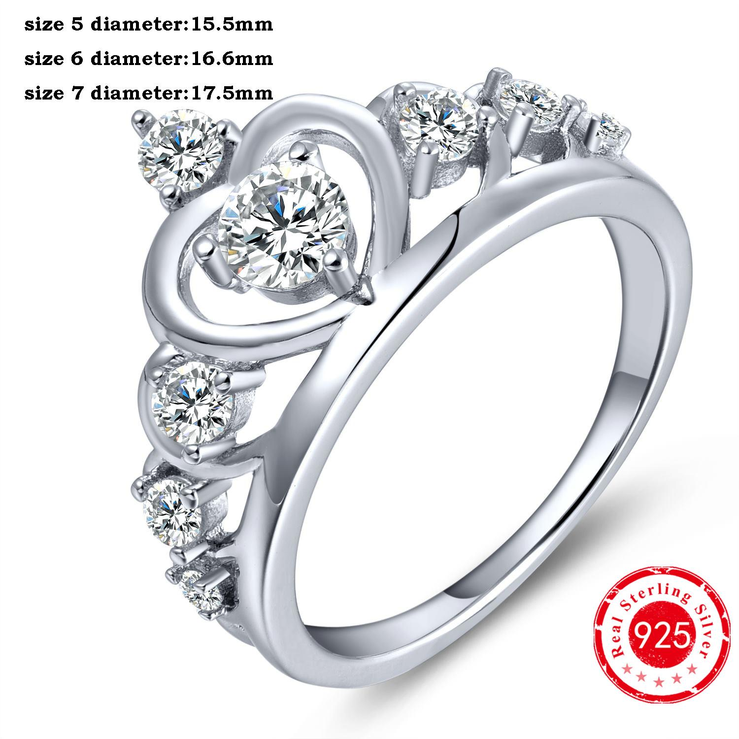 2017 charms crown rings solid 925 sterling silver round clear