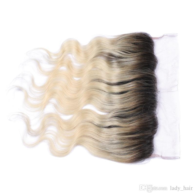 1B / 613 Blonde Ombre Reine Brasilianische Haarkörperwelle 13x4 Ohr zu Ohr Volle Spitze Frontals Günstige Bleach Blonde Ombre Spitze Frontal verschluss