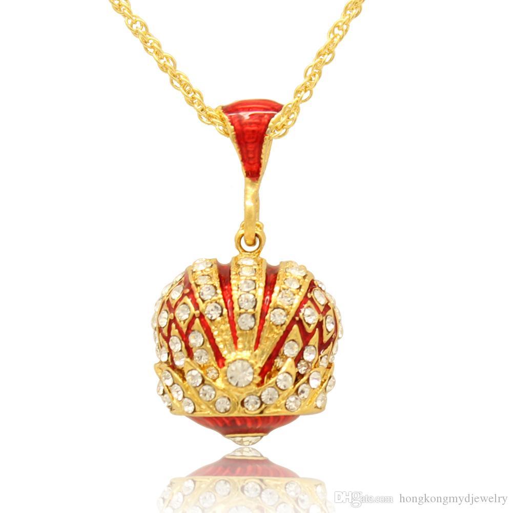 Colgante de corona de esmalte en color de la mano collar de dijes pavimentados con múltiples cristales Colgante de huevo Faberge para el día de Pascua
