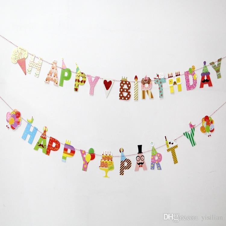 Совершенно новый Birthday Party Banner Праздничная группа Баннер Композиция декоративная Supplies Мультфильм BF001 заказ смешивания, как ваши потребности