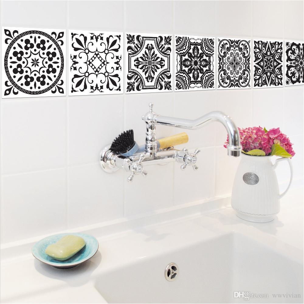 PVC Tile Stickers Black White European Style Retro Pattern Bathroom ...