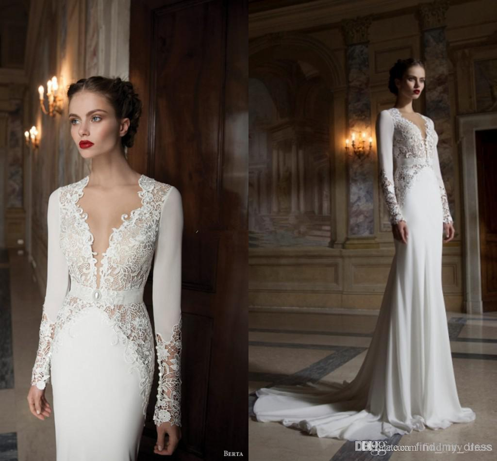 Vintage Medieval Wedding Gowns A Line Deep V Neck Long: 2017 Modern Style Long Sleeve Backless Wedding Dress Deep