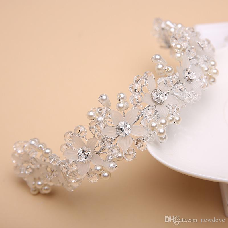 Absolutamente lindo flor meninas peças de cabeça de cristal crianças acessórios para casamentos pérola meninas desgaste formal em estoque