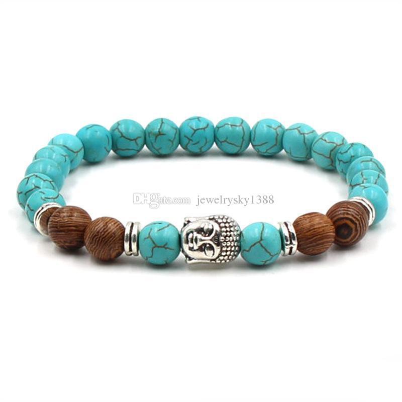 Cabeça de Buda Encantos Olho de Tigre Pedra Beads Pulseira Natural 8mm Pedras Turquesa Elastic Pulseira MULHERES Jóias shiipping livre