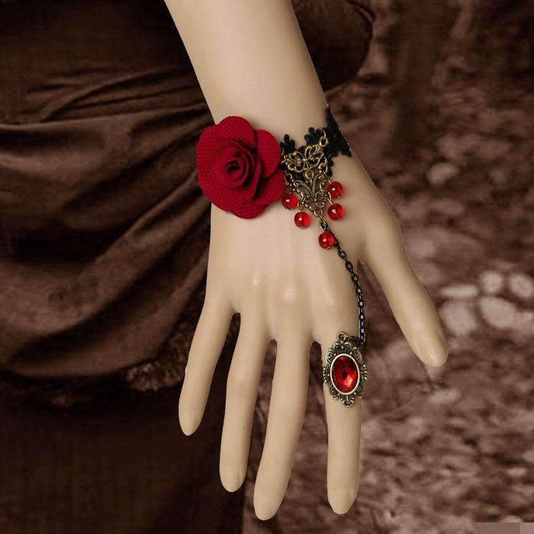 Siyah DIY Vampir Dantel Bilezik Vintage El Yapımı Kumaş Çiçekler Bilezik Yüzük Setleri Ayarlanabilir Gelin Ivır Zıvır Doğum Günü Hediye