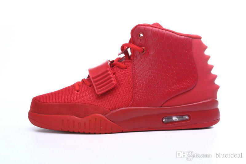 Mens Womens Outdoor Shoes Red October II Kanye West Shoes All Black ... 57f433be4e