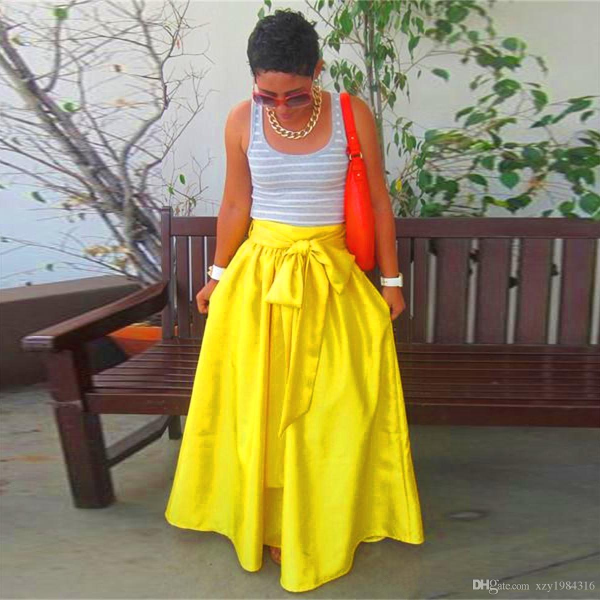 2018 Fashion Bright Yellow Long Skirts Custom Made Plus Size Formal Dresses Sash Ribbon Zipper A ...