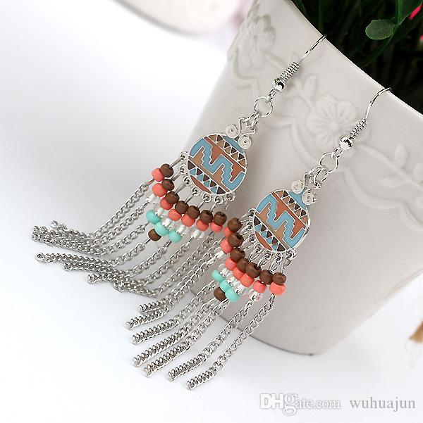 Butik Küpe Kadınlar Egzotik Desen Epoksi FH Küpe Kızlar Altın / Gümüş Zincirler Püskül Küpe Lady Boncuk Charm Küpe