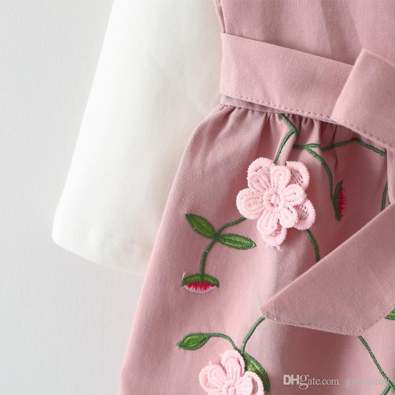 Nuevo diseño coreano baby girls dress niños otoño primavera 3D bordado flor de manga larga dress 2 unids / set de calidad superior