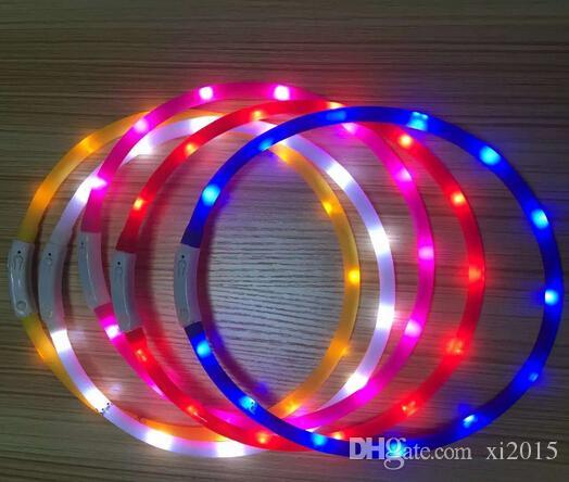 Collier de chiens de château de chargeur USB la plus récente LED Chargeur lumineux en plein air Colliers de chien de compagnie de chien Lumière réglable 6couleurs LED Collier de chien clignotant