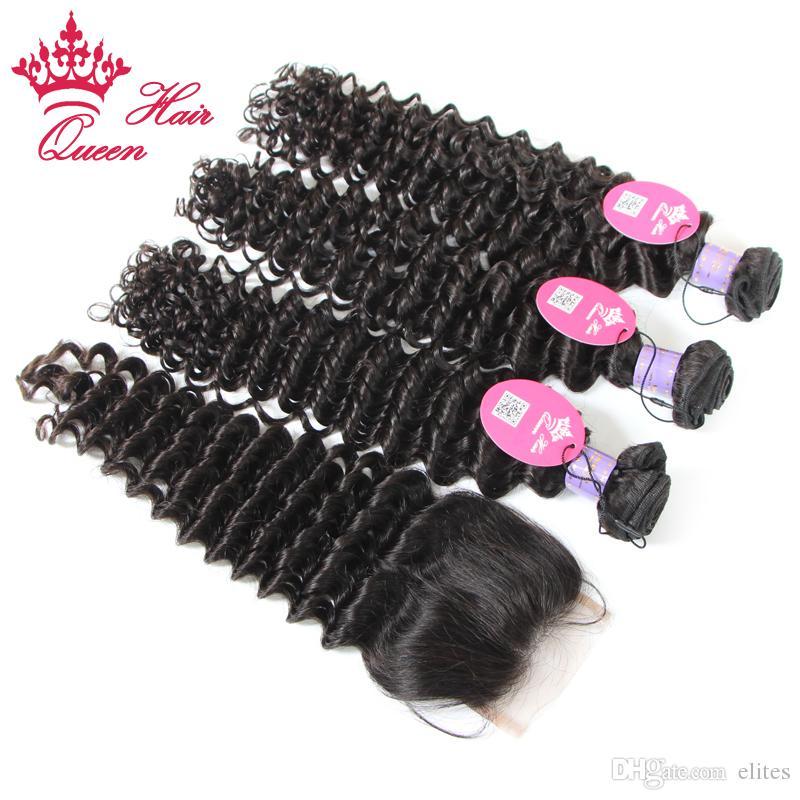 Products Rainha Produtos Malásia Virgem Humano Cabelo Humano emaranhado Free Profundo 4 pçs / lote, pacote de cabelo com fecho de renda, transporte DHL