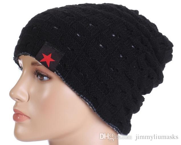 8 ألوان الرجال النساء مكتنزة محبوك الشتاء عكسها الفضفاضة بيني كاب قبعة التزلج الجمجمة جديد