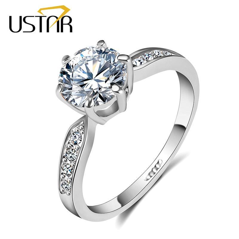 USTAR 175ct AAA Zircon Wedding Rings for Women White Gold Color