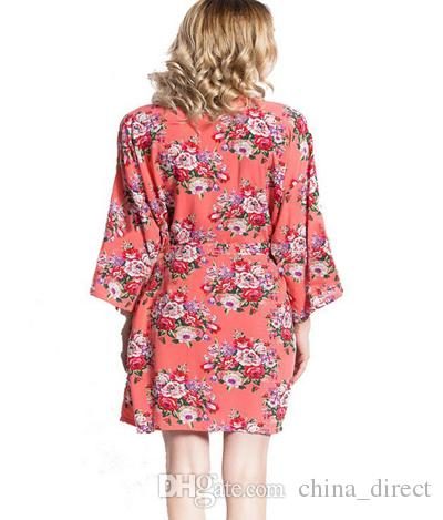 2016 womens cotton floral Robe Ladies Pajama Lingerie Sleepwear Kimono Bath Gown pjs Nightgown #4003