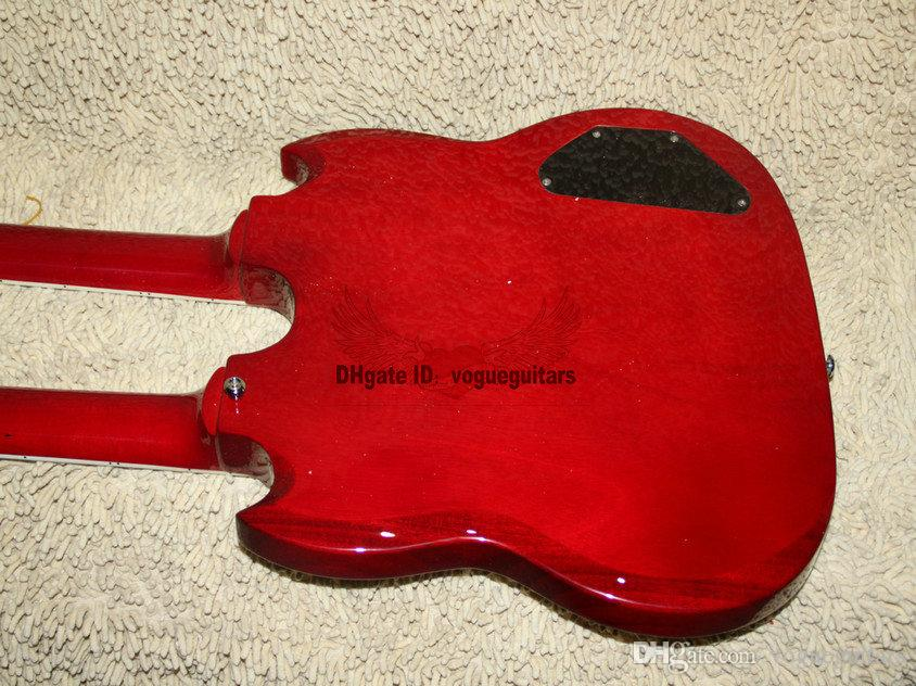 Custom 1275 Double neck left handed guitar Double neck Electric Guitar in red 6/12 strings A6789