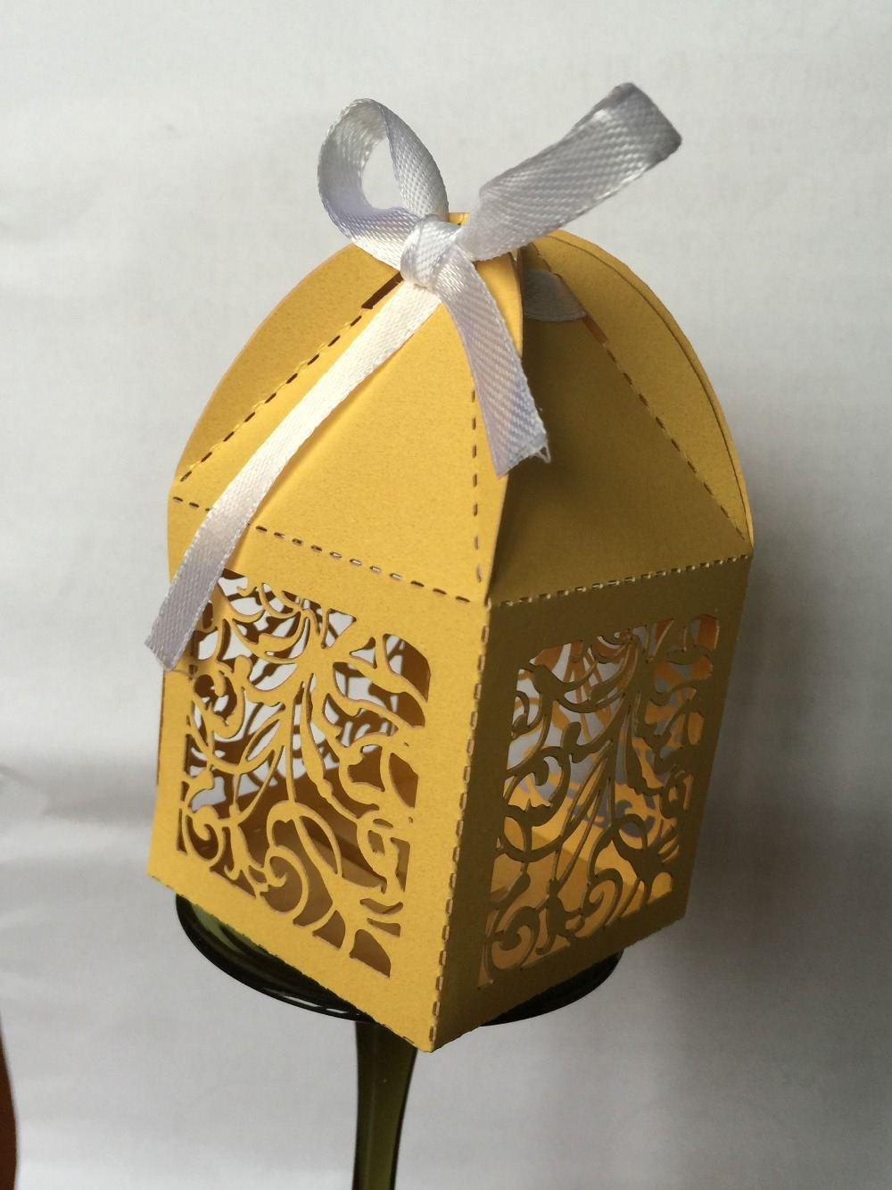5x5x8.5cm Gold Color Hollow Cut Wedding Cake Packaging Boxes ...