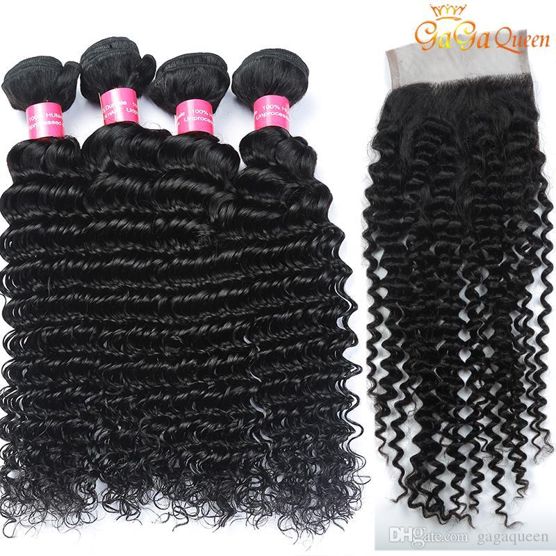 Onda profunda brasileña con paquetes de cabello de cierre con 4x4 Cierre 3 paquetes de cabello virgen brasileña con cierre Tejidos de cabello humano sin procesar
