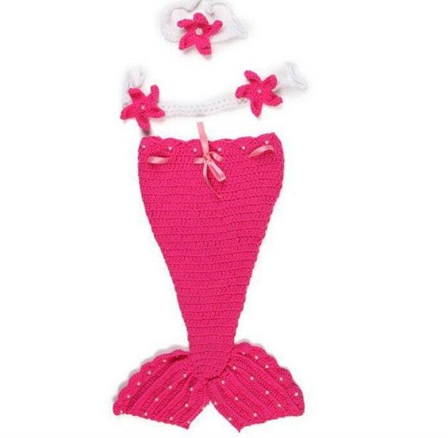 Chaud Crochet Tricot Nouveau-Né Sirène Queue Costume Bébé Photographie Props Vêtements Animal Design Nouveau-Né Studio Accessoires