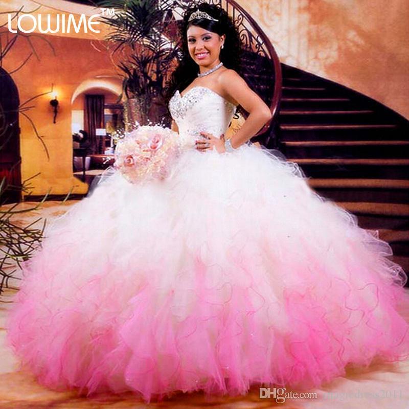 Hot Branco E Rosa Vestidos Quinceanera 2019 Vestidos De Baile Organza Beads Babados Vestidos De 16 Anos Barato Quinceanera Vestidos Frete Grátis