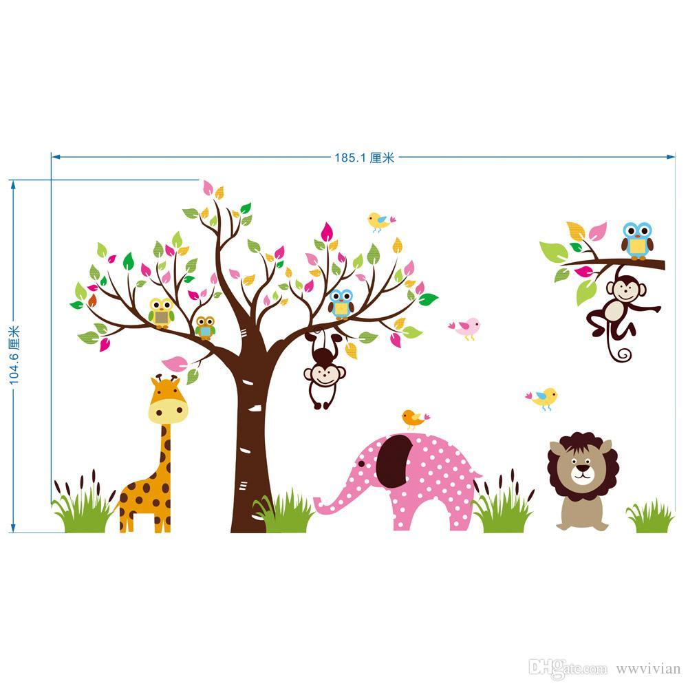 Ağaç Renkli Yapraklar Maymun Baykuşlar Duvar Çıkartmaları Çocuk Erkek Kız Bebek Duvar Duvar Posteri Zürafa Aslan Fil Anaokulu Duvar Kağıdı Çıkartmaları