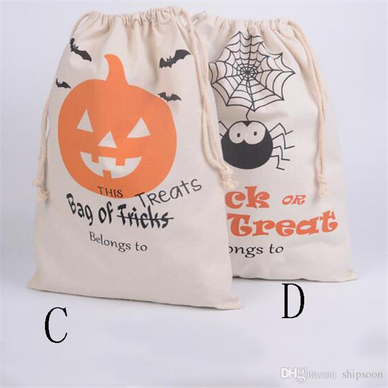 100% Cotton Canvas Halloween Sack Halloween Gifts bags wholesale hot sell string closure