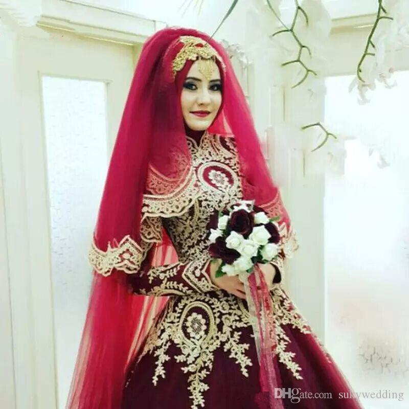 63cb0dca527 Discount 2018 New Burgundy Muslim Wedding Dresses With Long Sleeves African Wedding  Ball Gowns With Gold Appliques Hijab Saudi Arabia Bridal Dresses Pink ...