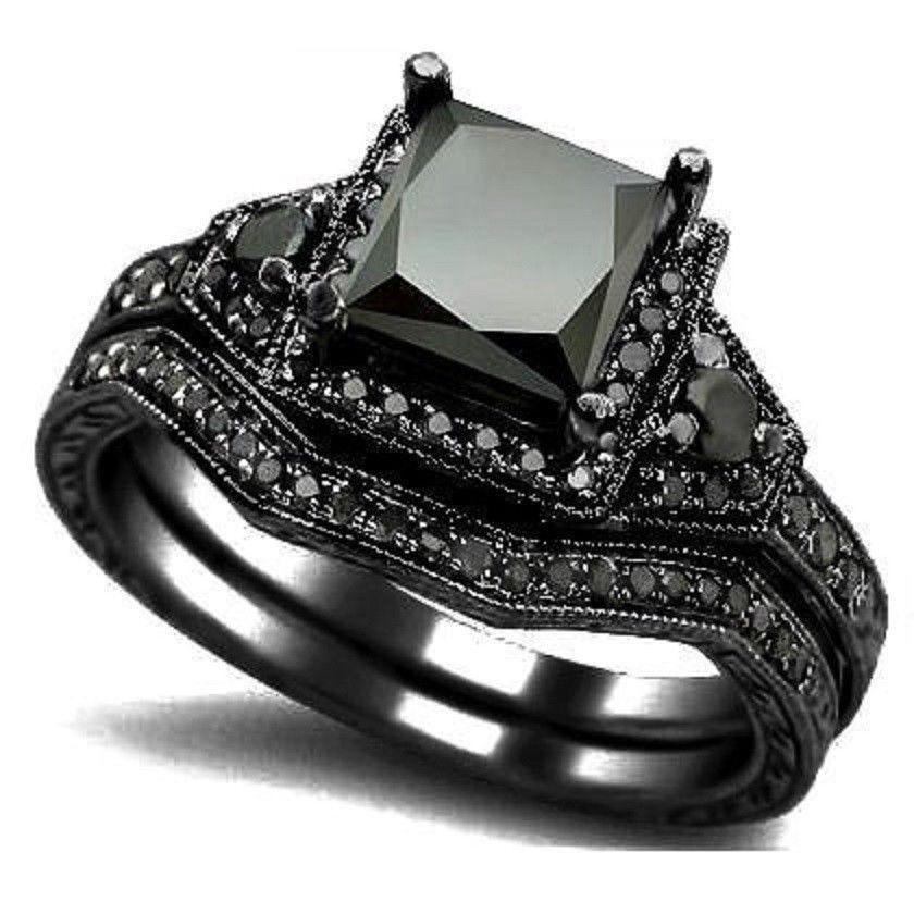 size 5 11 black princess cut crystal wedding engagement ring band set bridal halo statement propose cocktail promise anniversary black wedding ring black - Black Wedding Ring Sets